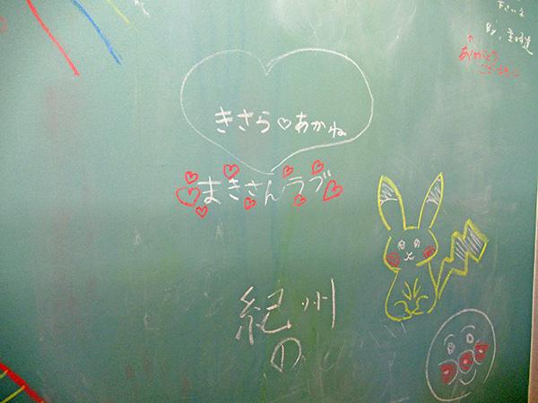 子どもたちの落書きが描かれた黒板